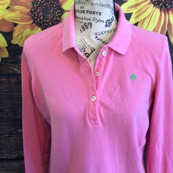 Lilly Pulitzer Palmer Polo Top Long Sleeves